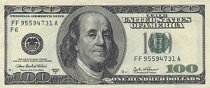 Picture of a One Hundred Dollar Bill